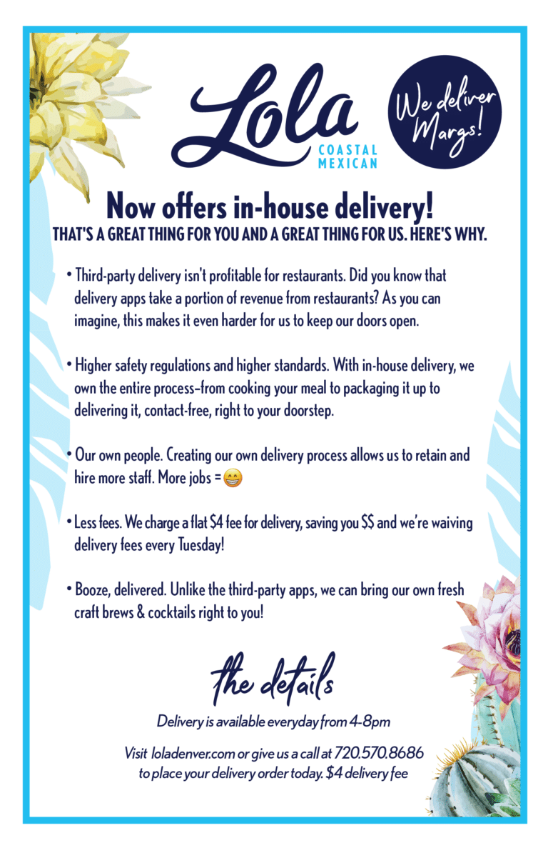 Lola Now offers in-house delivery!